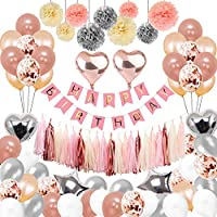 Toupons Birthday Decorations Rose Gold, 88Pcs Party Decorations for Girl Women with Happy Birthday Banner Helium Confetti Latex Balloons for 1th 13th 16th 18th 21st 30th 40th 50th Party Decor Pink