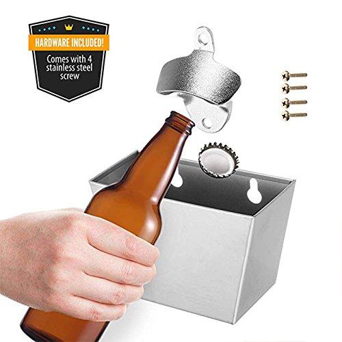 Gentoo Wand-Flaschenöffner Kronkorkenauffangbehälter für Wandmontage Bieröffner Wand Bottle Opener Bar Küchen Deko, mit Auffangbehälter für Kronkorken und Deckel (Silber)