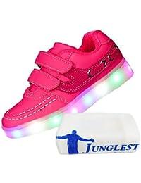 (Present:kleines Handtuch)Schwarz - Schwarz EU 40, Up Hip-Hop Paar Farben Tanz Sneakers Flashing für Light Frauen Partei 7 die Glow Lade-USB JUNGLEST