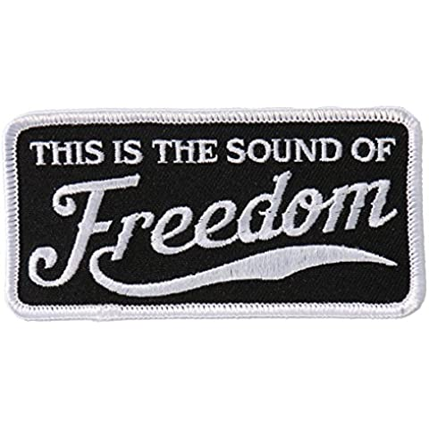 "Hot Leathers, SOUND OF FREEDOM, Iron-On / Saw-On Rayon PATCH toppa - 4"" x 2"", Heat Sealed Backing"