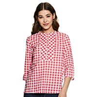 Styleville.in Women's Checkered Regular Fit Top (STSF401616-Red-L)