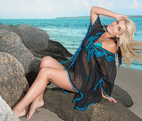La Leela tiefer Ausschnitt Pailletten Paisley pom pom schiere Super lihgtweight Chiffon Badebekleidung Badeanzug 4 in 1-Strand-Bikini Tunika Grund Kleid Cocktailparty Kimono verschleiern bestickt turqoiuse