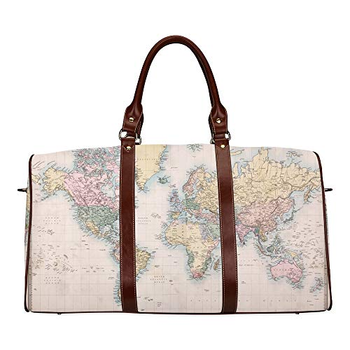 Reisetasche Handbemalte Weltkarte wasserdichte Weekender-Tasche Reisetasche Frauen Damen-Einkaufstasche Mit Mikrofaser-Leder-Gepäcktasche