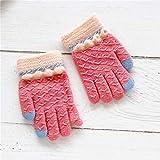 Baby Handschuhe Winter 0-3 Jahre alt fünf Finger Punkte gebürstet warm Baby Jungen Schatz weiblichen Schatz Kinder Kinder Handschuhe dünn, 10 * 5.5cm / empfohlen 0-3 Jahre alt, Spitze - tiefes Rosa