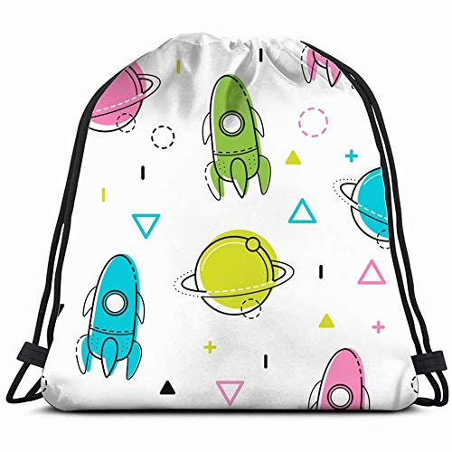 DHNKW Space Pattern multicoloredcute 3D Print Drawstring Backpack Rucksack Shoulder Bags Gym Bag 17X14 Inch