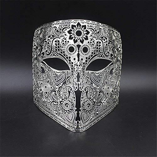 HAIBUHA Masken Gesichtsmaske Gesichtsschutz Domino Falsche Front Grimasse Make-up Maske Abschlussball Venedig Metall Vollgesicht Show Halloween Party Maske Cosplay Männer Und Frauen Silber