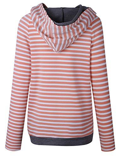 Autunno Lnverno Donna Manica Lunga Splicing Colore Sweatshirt Striscia Felpe Con Cappuccio Casual Obliquo Cerniera Jumper Pullover Hoodies Arancia