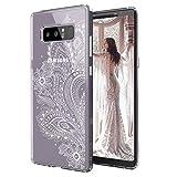 MOSNOVO Galaxy Note 8 Hülle, Paisley Henna Blumen Weiß Muster TPU Rahmen mit Hart Plastik Hülle Durchsichtig Schutzhülle Transparent für Samsung Galaxy Note 8, Galaxy Note 8 Case (Paisley Floral)