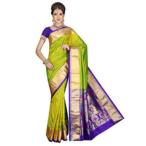 Mahila Silks PEA-GREEN Traditional Paithani pure silk Sarees