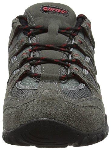 Hi-Tec Quadra Classic O005551 Herren Trekking- und Wanderhalbschuhe Grey (Charcoal/Black/Red)