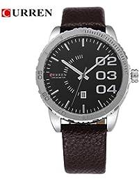 Correa de cuero reloj de pulsera cronógrafo para hombre Curren minimal negro y marrón