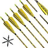 Lizac Pfeile für Bogenschießen, 31 Zoll camo Bogenpfeile Carbon Pfeile mit Naturfeder, Jagdpfeile für Bogen, traditionellen Bogen, Recurvebogen und Langbogen(12er set)