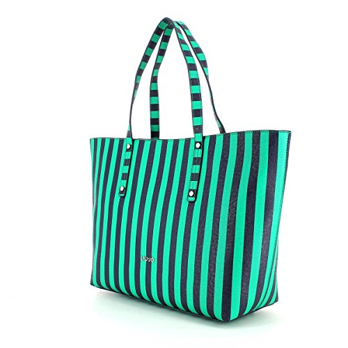 LIU JO PE 16 BORSA SHOPPING STRIPES N16225 03V07 FULL GREEN STRIPE