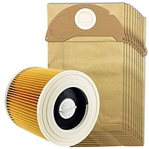 Spares2go Cartridge Filter & Dust Bags for Karcher MV2 IPX4