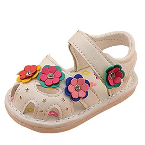Hunpta Kinder Mädchen Blume Schuhe Prinzessin Mode Single Schuhe Sommer Mädchen Sandalen (Alter: 12-18 Monate, Weiß) (Ferse Quadratische 14)