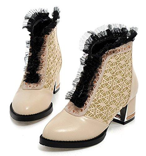 YE Damen Spitze Ankle Boots mit Bequem Blockabsatz Glitzer Strass Reißverschluss Hinten 5cm Absatz Lace Elegant Moderne Stilefeletten Beige