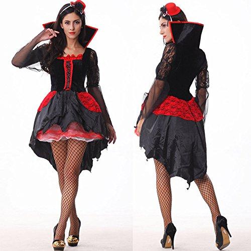 Vampirs-Hexe-Halloween-erwachsene Damen-Kleidung cosplay Nachtklub-Nachtfeld-Stab kleiden oben (Alter Mann Winter Kostüm)