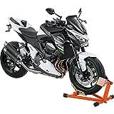 Motorrad Montageständer Hi-Q Tools Vorderradständer Wippe, einfaches Abstellen des Fahrzeuges, ideal für den Transport, fester Stand, Orange, einstellbar für fast alle Rad-/Reifengrößen