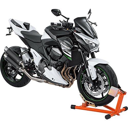 Hi-Q Tools Motorrad-Montageständer Vorderradständer Wippe, einfaches Abstellen des Fahrzeuges, ideal für den Transport, Fester Stand, Orange, einstellbar für Fast alle Rad-/Reifengrößen -
