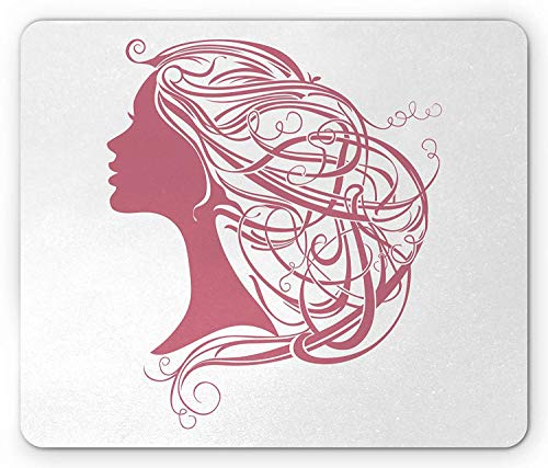 Curly Hair Mouse Pad, Modern Woman Vintage Hairstyle Coiffure Beauty Icon Girl Side View Print, Standard Size Rectangle Non-Slip Rubber Mousepad, Pink and White 9.8 X 11.8 INCH -