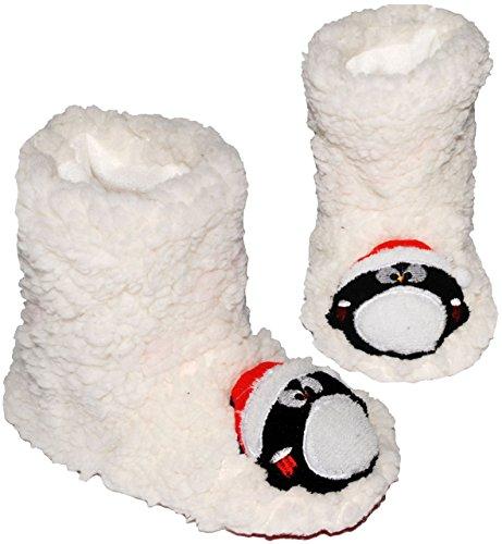 Unbekannt Hausschuhe / Hüttenschuhe / Pantoffel -  lustiger Pinguin  - Größe 33 - 34 __ schön warm & super weich __ Plüschhausschuh / für Kinder & Erwachsene - ABS So..