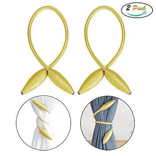 FUJIE 2 Stück Vorhang Raffhalter DIY Kreativ Modellierung Vorhang Holdbacks Hand Stricken Vorhang Clips für Home Office Fensterdekoration - Gold