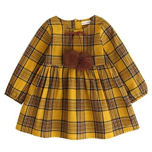 inder Baby-Kleidung Langarm A-Linie Kariertes Bowknot Fellball Party Mini-Kleid Prinzessin Kleid (2T,A-Gelb) (Kleinkind 2t Größentabelle)
