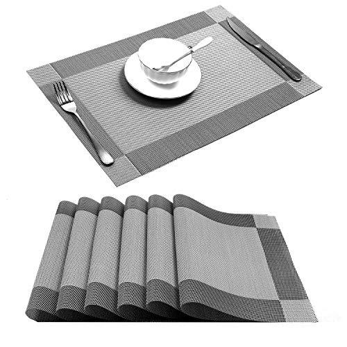 U'Artlines 6er Set Platzsets Hitzebeständigen Waschbaren Woven Vinyl Tischsets Silber rutschfest 30 * 45cm(6er Platzsets, Silber) -
