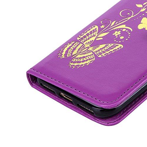 Cozy Hut® Ultra Schlank Folio Handyhülle / für iPhone 7 (4.7 zoll) Cover / Case / Bumper Hülle Schutzhülle / Rückdeckel Schutzhülle / Handy Hülle / Ultra-thin soft shell / Strass Bräunung Stil Blau Go lila