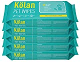 #6: Kolan Eco-Friendly Pet Wipes/Grooming Wipes for Dogs, Cats and Other Pets 60 Pcs/Pack (Pack of 5)