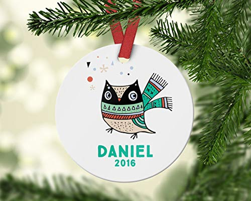 qidushop Cute Owl Ornament Name Ornament Gift for Kid Kids Christmas Ornament Personalized Ornament 2018 Christmas Decoration Funny Holiday Xmas Tree Hanging Crafts