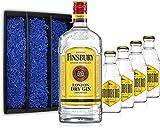 Gin Tonic Geschenkset - Finsbury London Dry Gin 70cl (37,5% Vol) + 4x Goldberg Tonic Water 200ml + Geschenkverpackung