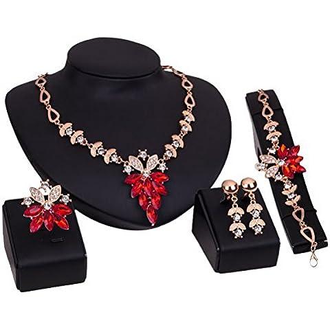 Donna elegante strass Blumen Parure collana bracciale anello orecchini - Oro Rosso Orecchini Vintage