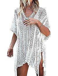 Frmarche Vestidos de Playa Mujer Verano Ganchillo Flor Tejer Ropa de Baño Cubrir Tapa de Bikini