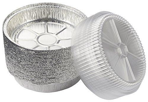 Folien-kochen-pfannen (Aluminium Folie Pfannen–Hemdenknöpfe rund Einweg Dampf Tisch Pfannen mit Kunststoff klar Deckel für Backen, Rösten, broiling, Kochen, 22,9cm Durchmesser)