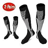 Compression Socks For Women & Men - 2 Pairs Unisex 20-30mmHg Graduated Knee High Nursing Running Socks - Best for Medical, Running, Nursing, Flying ,Travel, Flight, Edema,Diabetic ( Women & Men,Size:S/M 2-8,L/XL 9-13,XL/XXL 12-18) (Black, S/M)