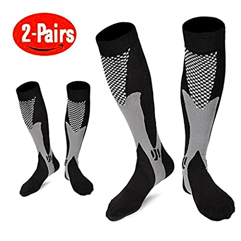 Compression Socks For Women & Men - 2 Pairs Unisex 20-30mmHg Graduated Knee High Nursing Running Socks - Best for Medical, Running, Nursing, Flying ,Travel, Flight, Edema,Diabetic ( Women & Men,Size:S/M 2-8,L/XL 9-13,XL/XXL 12-18) (Black,