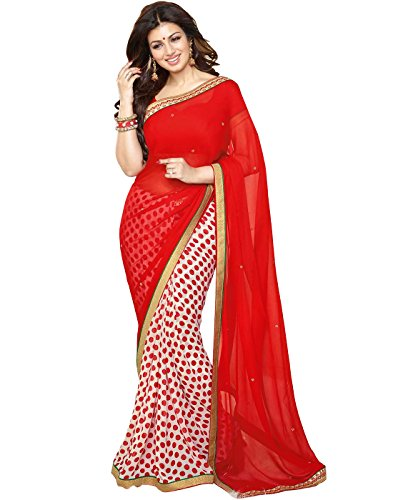 Vedant Georgette Saree (Red_Gola_Red)