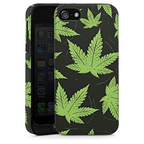 Apple iPhone 5 Housse étui coque protection Feuille de chanvre Feuille de cannabis Vert Cas Tough brillant