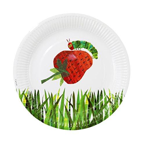 ery Hungry Caterpillar; Pappteller (kleine Raupe Nimmersatt-Motiv) für Baby- und Kindergeburtstage, Grün, 23 cm (12 pro Pack in 2 Designs) ()