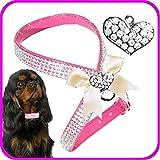 XS Herz Pink Hunde Strass Brustgeschirr Chihuahua Hundegeschirr Softgeschirr für Hunde