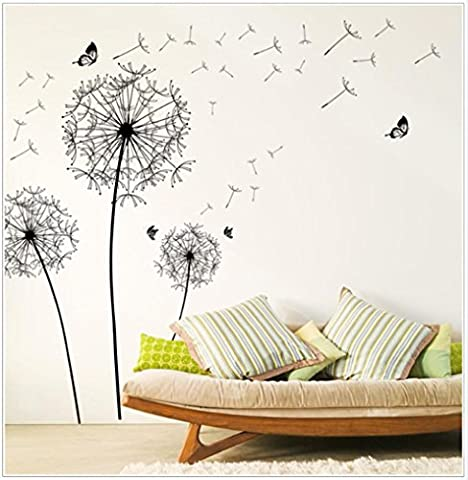 Wall Stickers,Zolimx Dandelion and Butterfly In The Wind Huge Removable Vinyl Wall Sticker Mural Decal Art For Home Bedroom Decoration