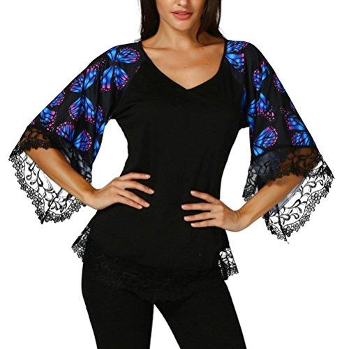 Damen Sommer V-Ausschnitt Schmetterlings 1/2 Arm Spitzenbluse Oberteile DOLDOA Frauen Tops Blusen Pullover Blusentop T-Shirt Geburtstags Geschenk (EU:44, Schwarz Schmetterlings Spitzenbluse)