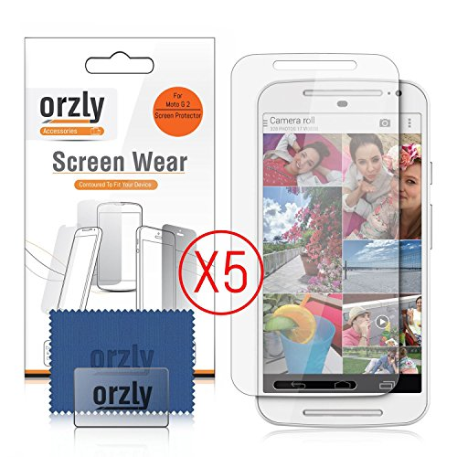 Orzly® - 5 x Display-Schutzfolien für MOTOROLA MOTO G (Gen 2 Version) SmartPhone / Handy (2014 Modell) - MULTI PACK of 5 Transparent Screen Protectors (G Moto Screen-ersatz)