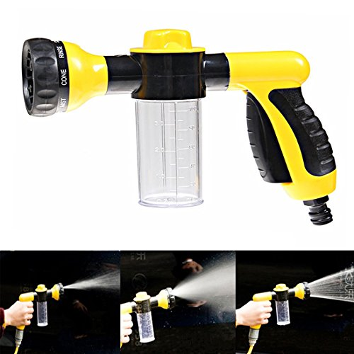 Multifunctional High Pressure Foam Water Spray Gun Home Garden Lawn Pet Car Wash - Heavy Duty 8 Pattern Metal Watering Nozzle - Water Gun Garden Hose Nozzle Sprayer Gun - Flow Control Setting Knob - Designed for Car Washing, Garden/Lawn Watering, Room/Dec