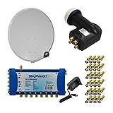 SkyRevolt PremiumX Digital HD Sat Anlage 100 cm Antenne ALU Hellgrau Multischalter 5/8 Multiswitch Sat Verteiler Quattro LNB HDTV + 24x F-Stecker