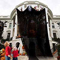 EZIGO 5.04 قدم زينة عيد القديسين شبح هالوين دعائم معلقة مخيفة الشبح دعائم هالوين معلقة زينة للداخل في الهواء الطلق المنزل ساحة شرفة سطح (أسود)