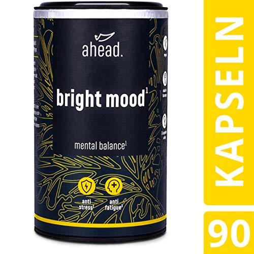 ahead® BRIGHT MOOD | Natürlicher Booster* mit Vitamin B6 für Stimmung, Wohlbefinden und Nervensystem* | L-Tryptophan, 5-HTP, Reishi, B12 | | 90 vegane Kapseln -