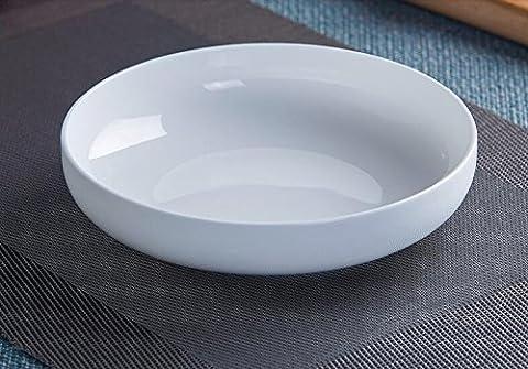 Plaques circulaires en céramique porcelaine profonde assiette assiette à soupe de riz cuit accueil nid blanc plaque de petites assiettes plats Diamètre de