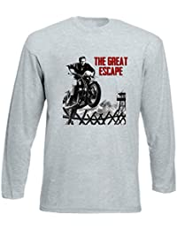 f4e5d90aa79368 TEESQUARE1st Men s The Great Escape Steve MCQUEEN Grey Long Sleeved T- Shirt